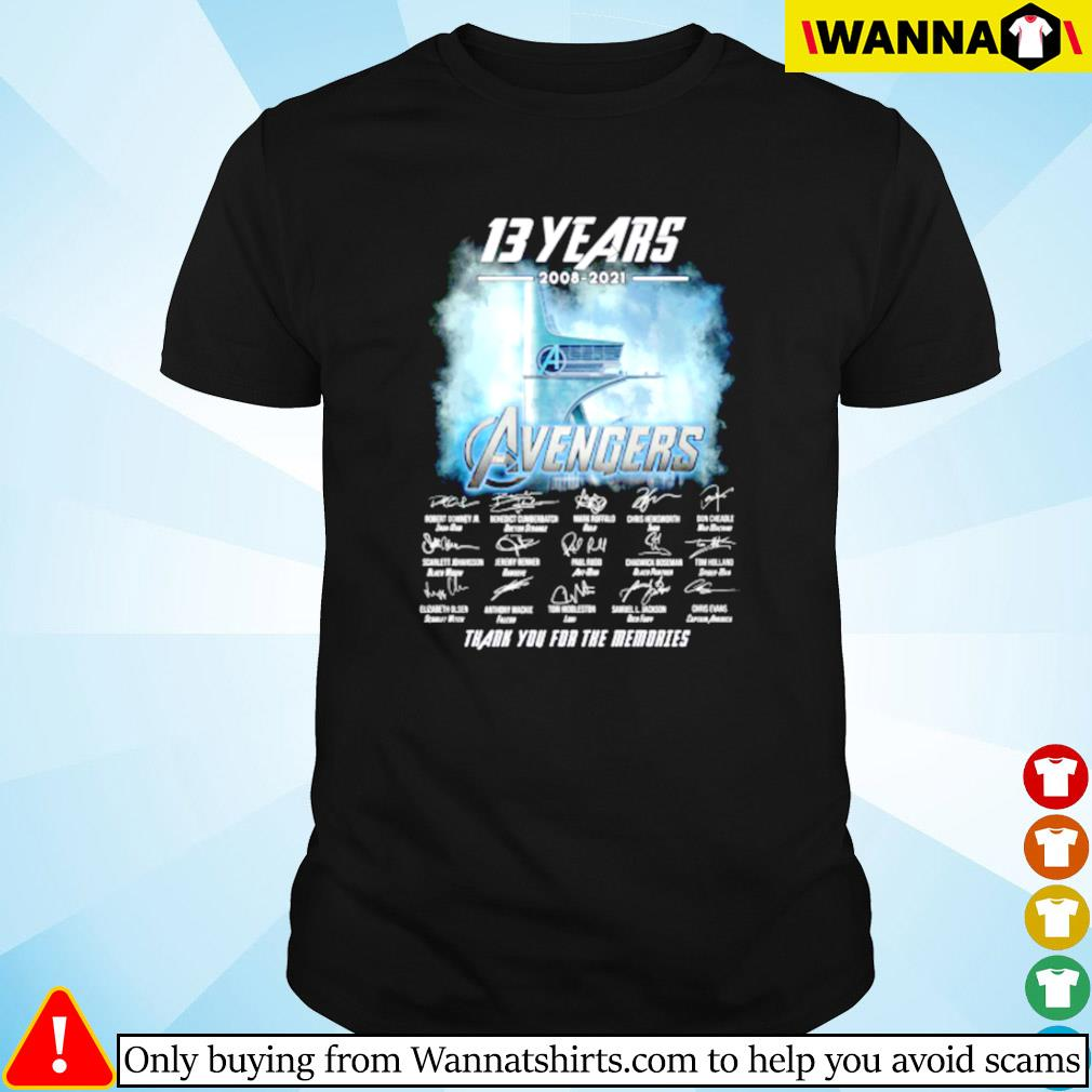 13 Years of Avengers 2008-2021 thank you for the memories shirt