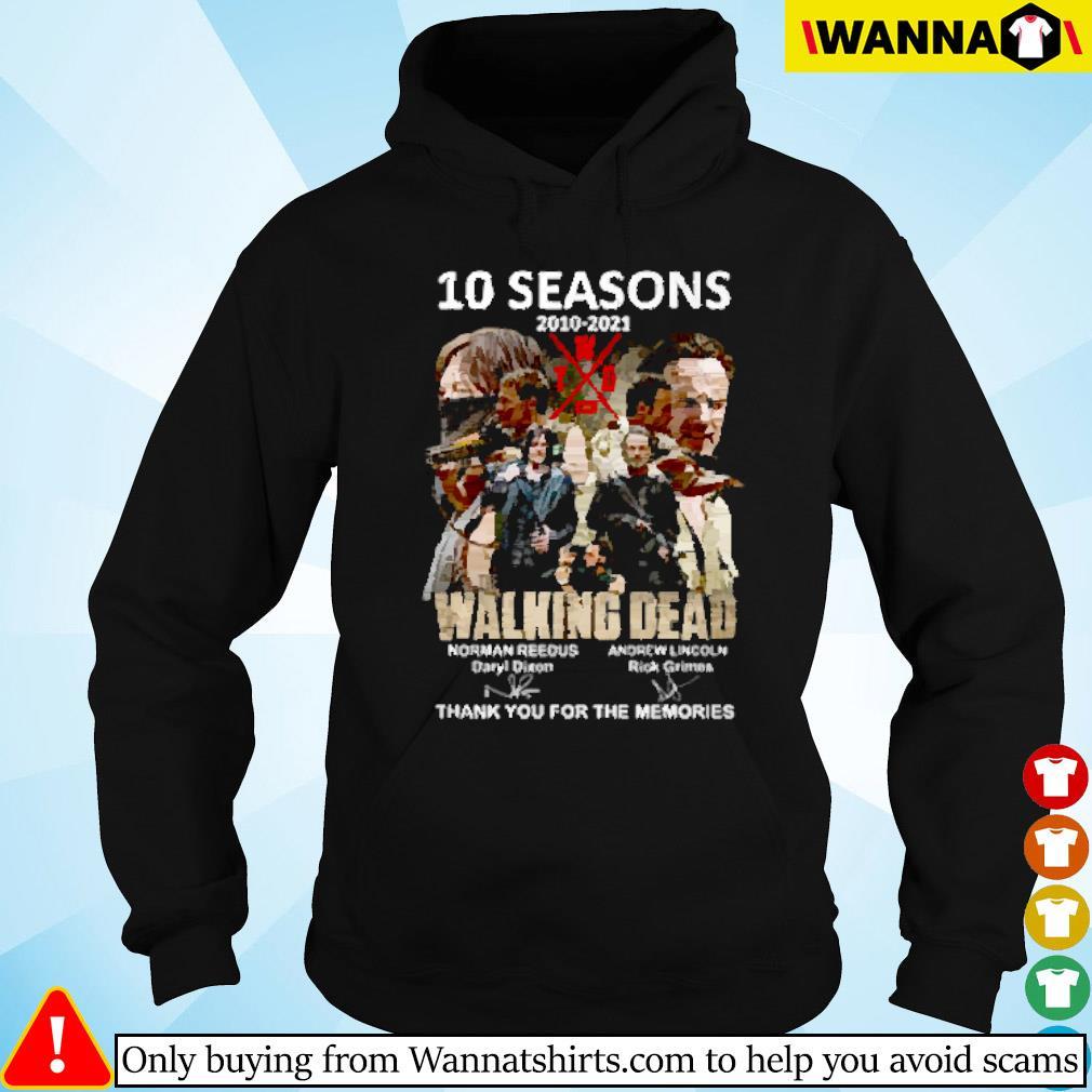 10 Seasons 2010-2021 The walking dead Norman Reedus Andrew Lincoln signature Hoodie