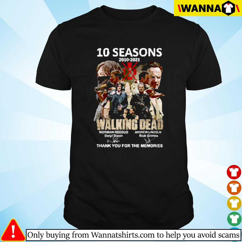 10 Seasons 2010-2021 The walking dead Norman Reedus Andrew Lincoln signature shirt