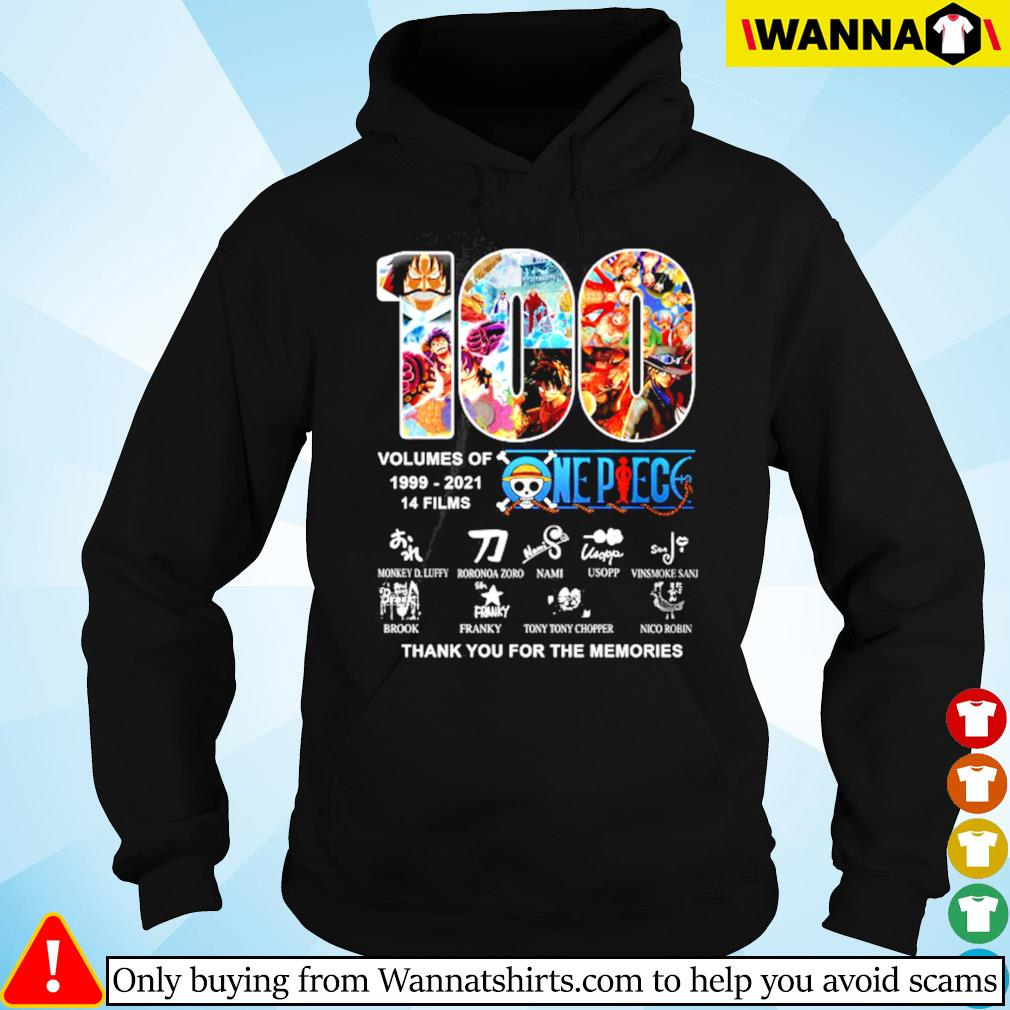 100 Years volumes of One Piece 1999-2021 14 films signatures s Hoodie