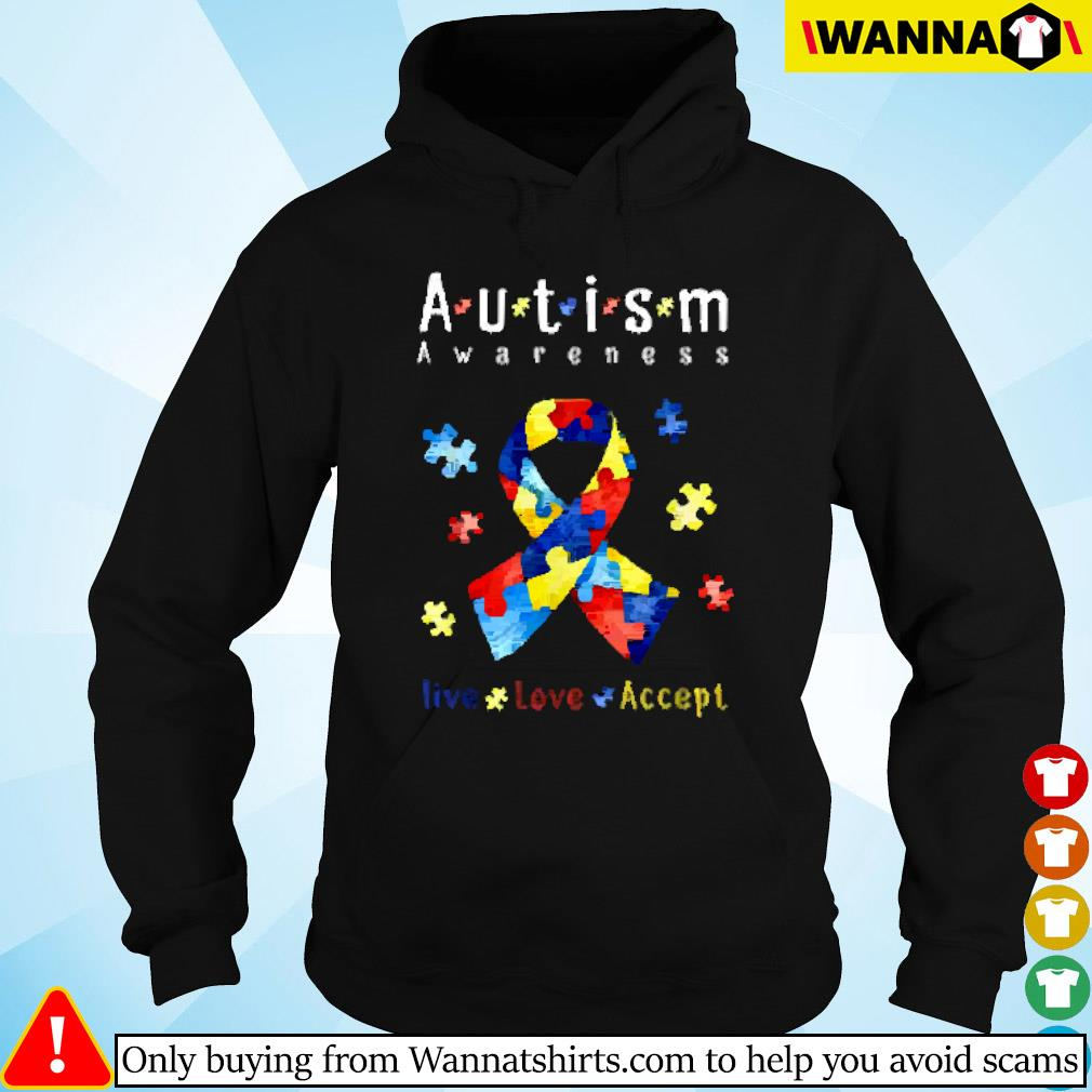 Breast cancer autism awareness live love accept Hoodie