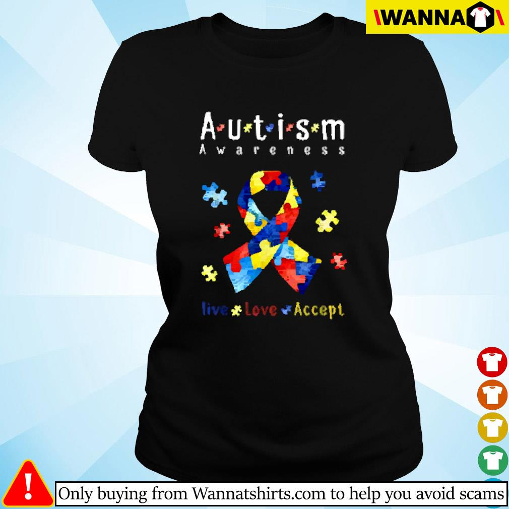 Breast cancer autism awareness live love accept Ladies tee