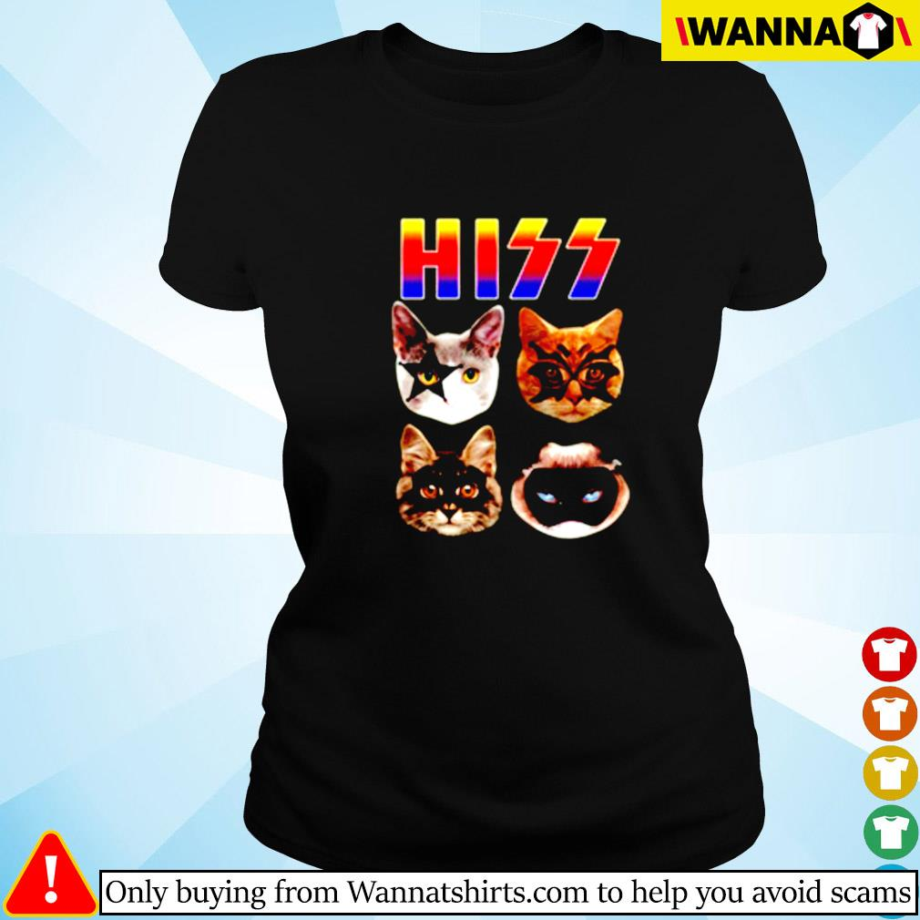 Cat hiss kiss band Ladies tee