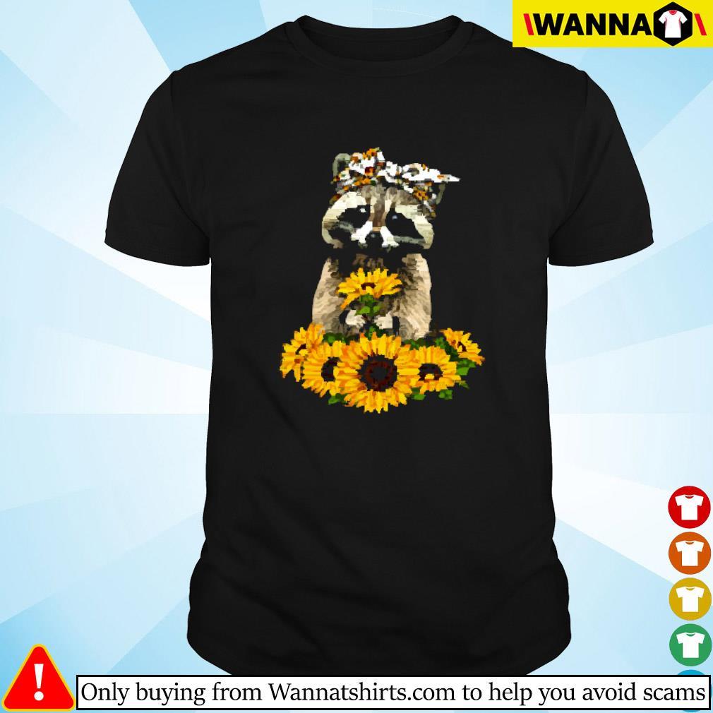 Raccoon wearing bandana sunflower shirt