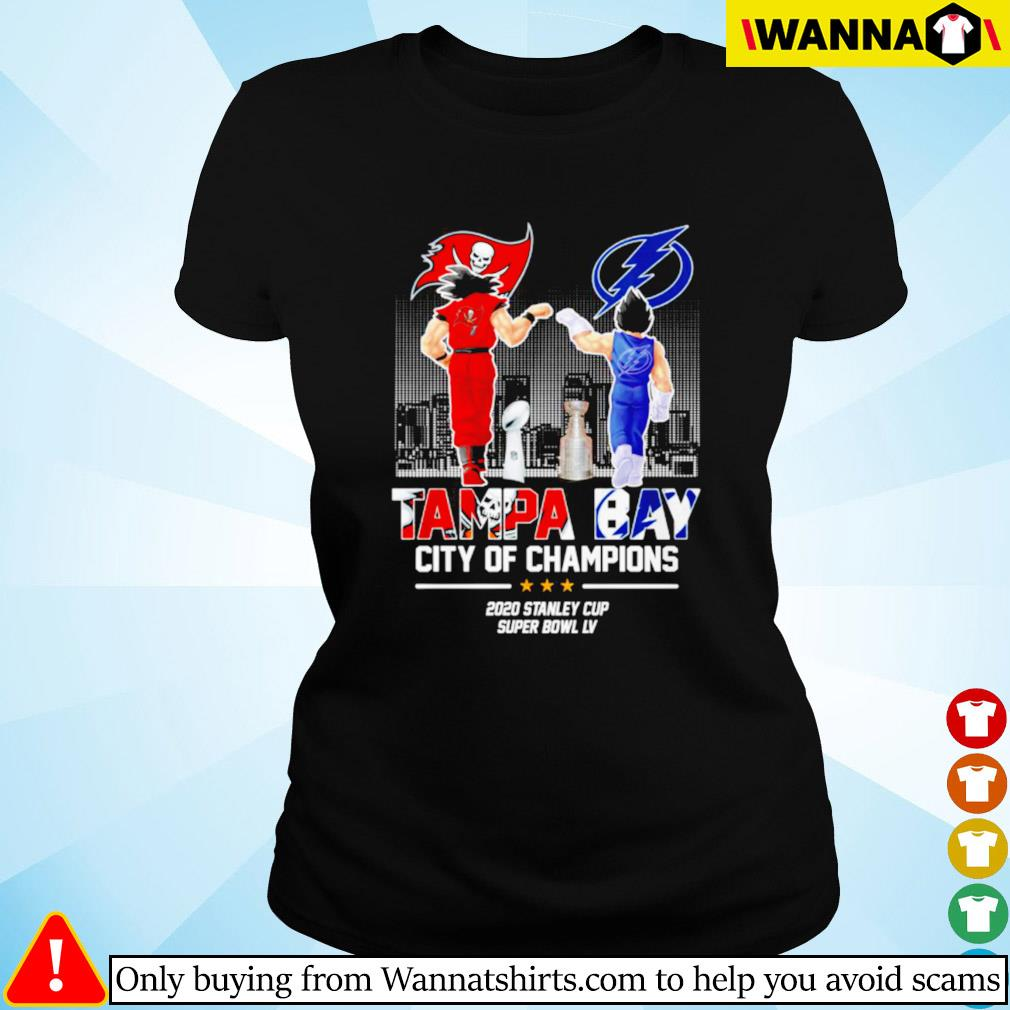 Son Goku and Vegeta Tampa Bay city of champions 2020 stanley cup super bowl LV Ladies tee