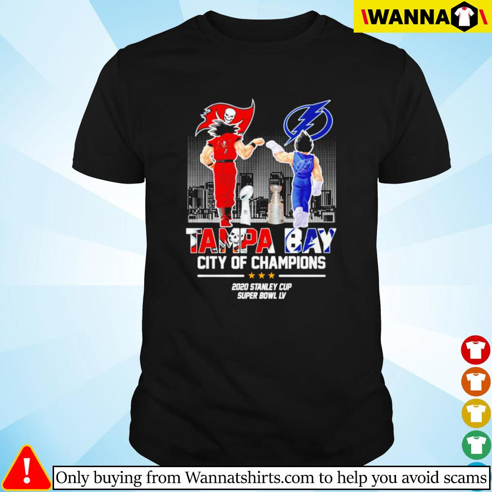 Son Goku and Vegeta Tampa Bay city of champions 2020 stanley cup super bowl LV shirt