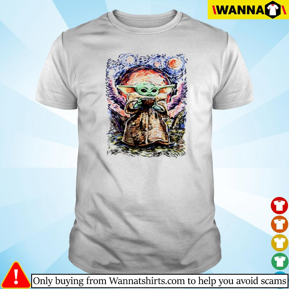 Baby Yoda Vagh Gogh Starry Night shirt