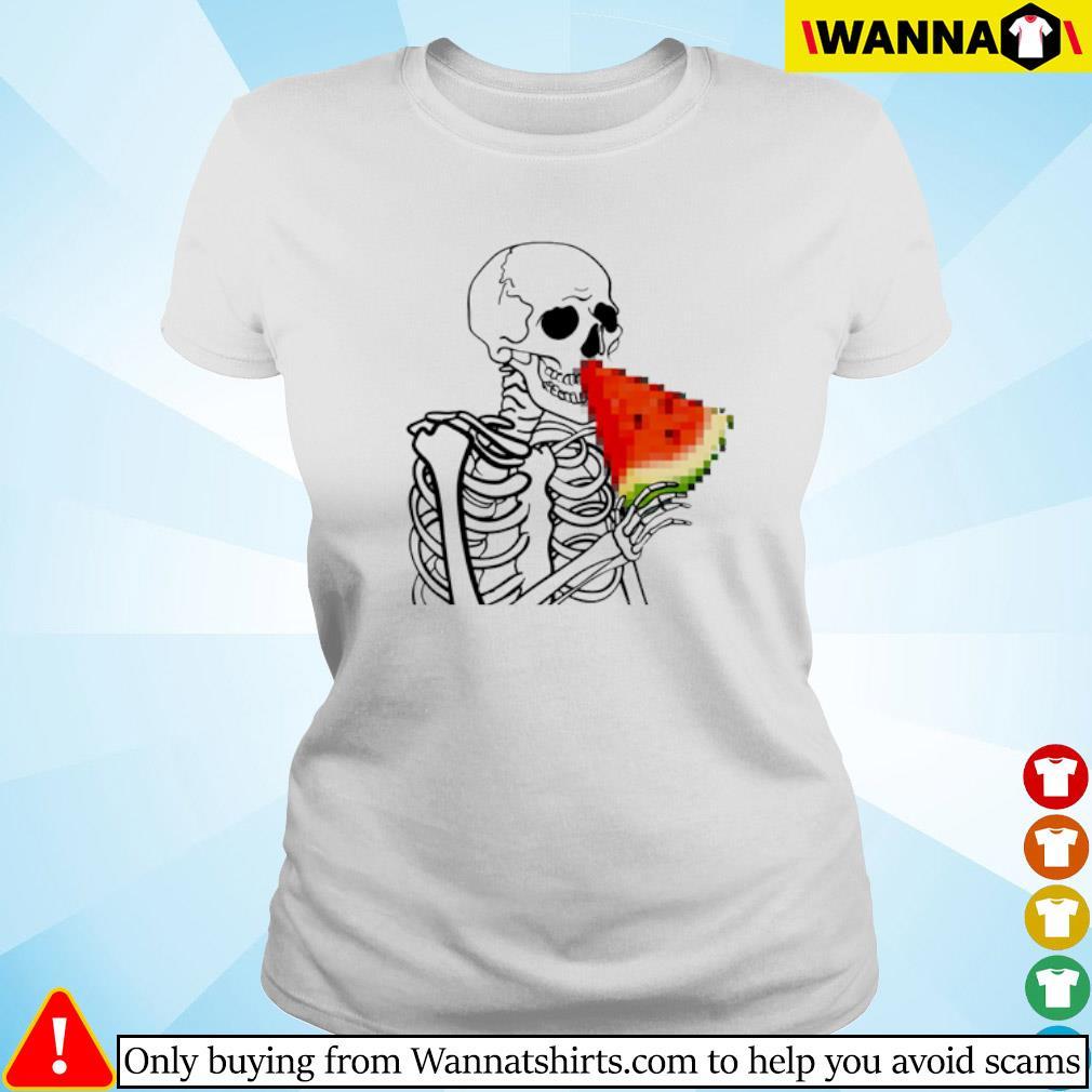 Skeleton eat Watermelon Ladies tee