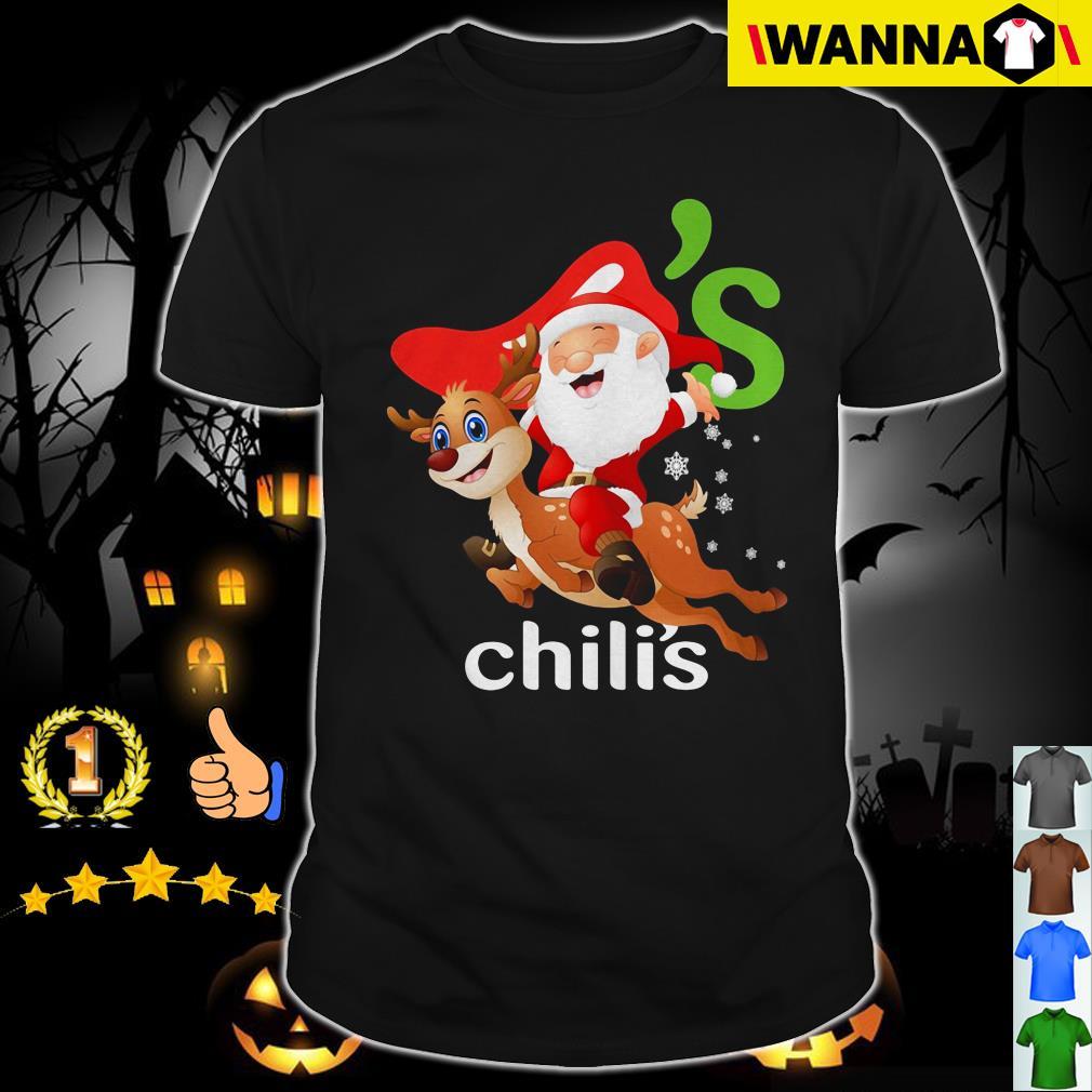 Is Chilis Open On Christmas.Santa Claus Riding Reindeer Chili S Christmas Shirt