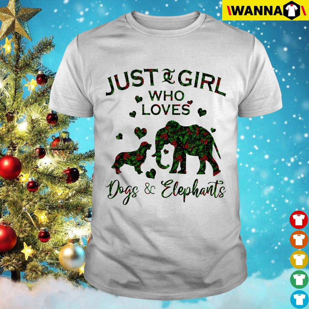 Just and girl who loves dogs and elephants guys shirt