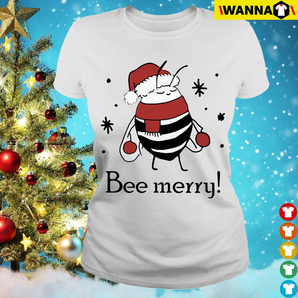 Santa Bee Merry Christmas Ladies Tee