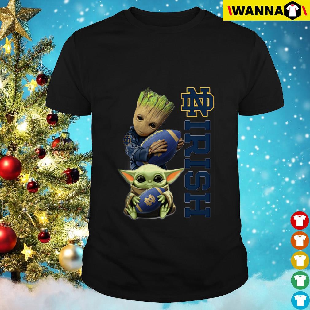Baby Groot and Baby Yoda hug ball Notre Dame Fighting Irish shirt