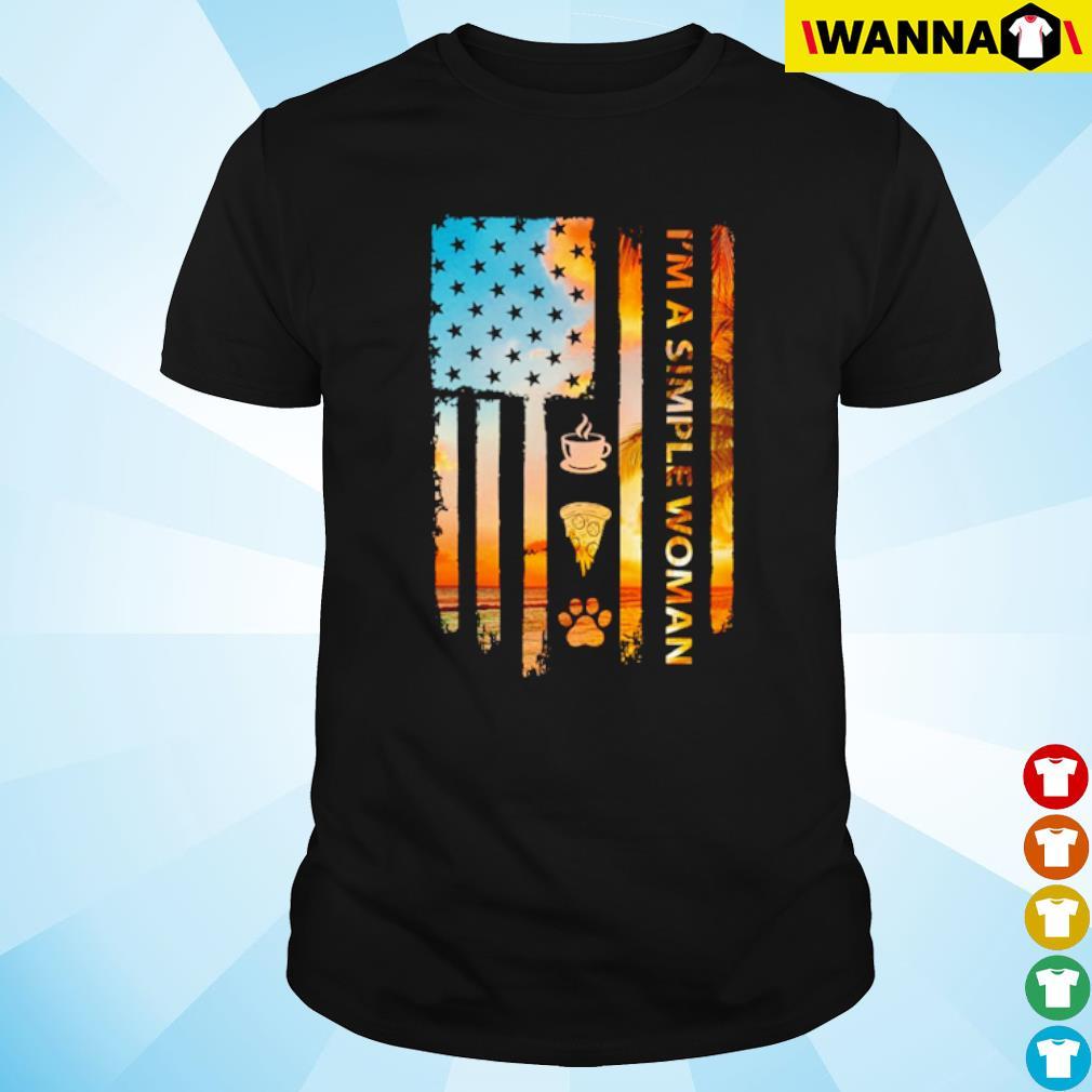 I'm a simple woman I like coffee pizza and cat USA flag shirt