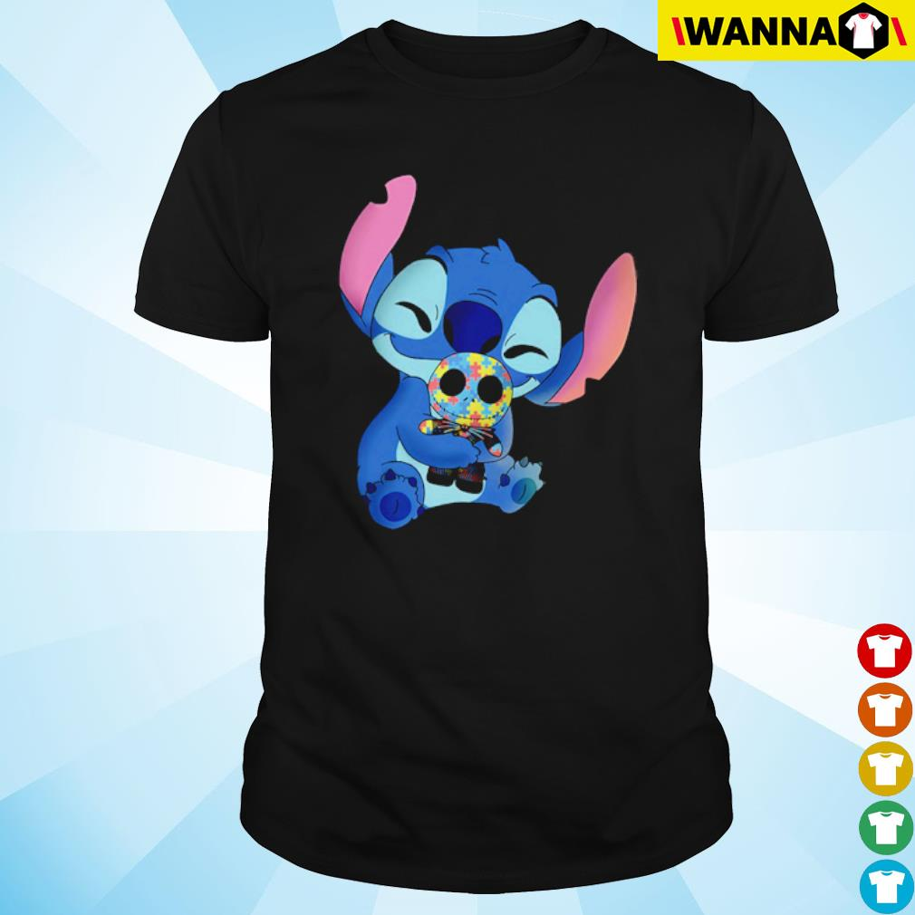 Stitch hug Jack Skellington Autism shirt