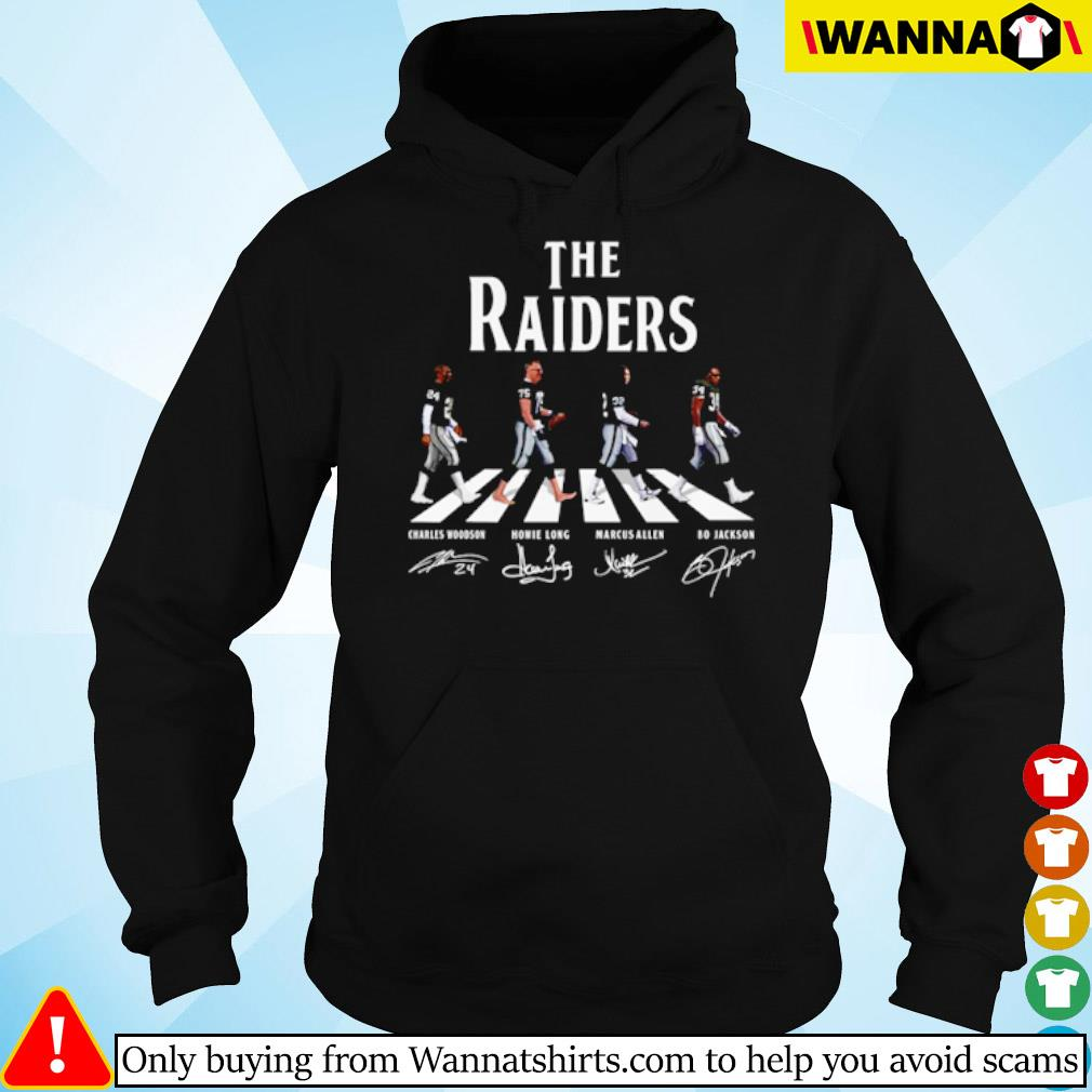 The Oakland Raiders Abbey Road team players signatures s hoodie black