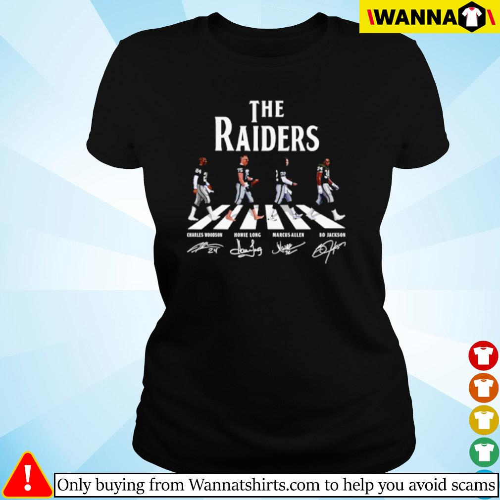 The Oakland Raiders Abbey Road team players signatures s ladies-tee black