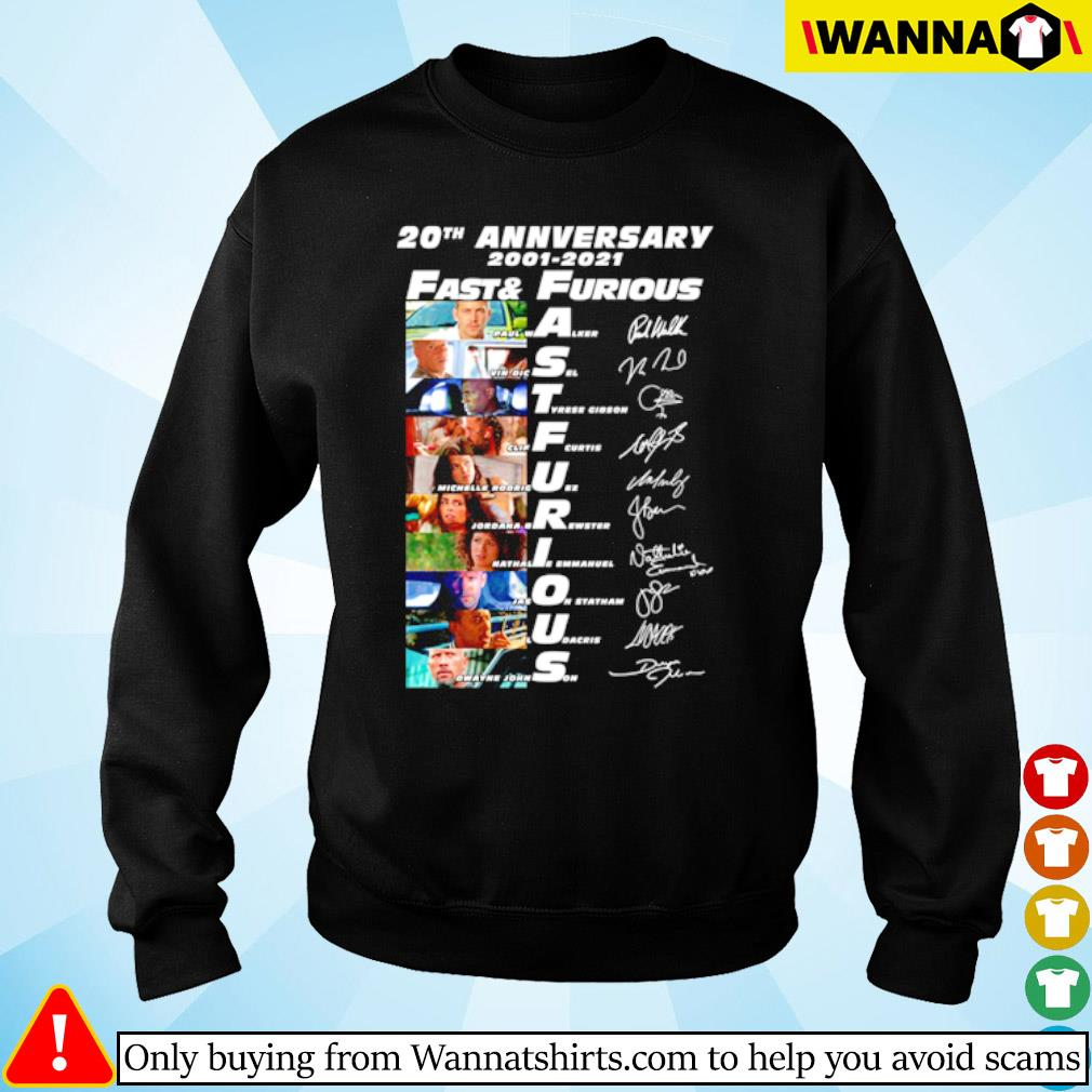 20th Anniversary 2001-2020 Fast and Furious all characters signatures s sweater black