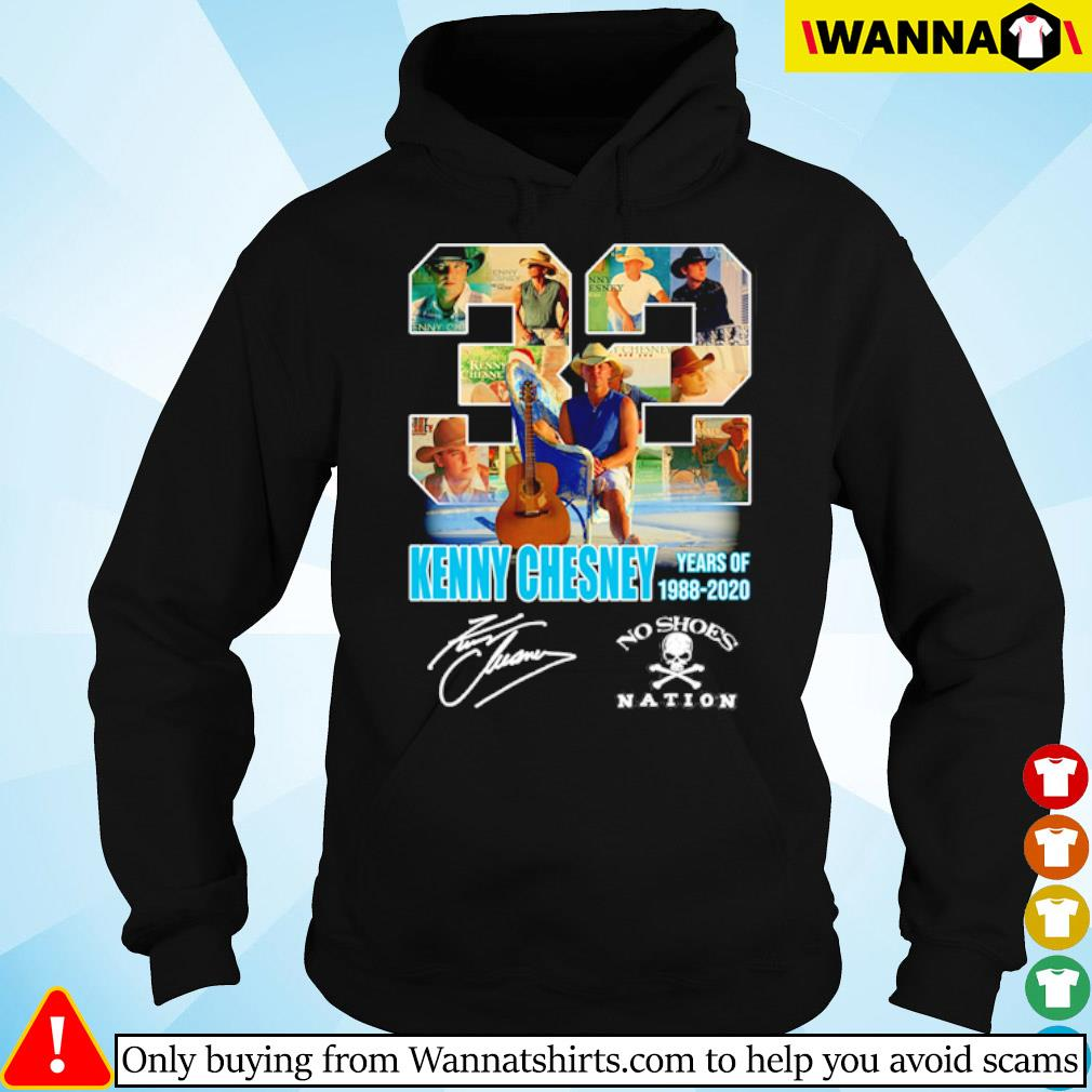 32 Years of Kenny Chesney 1988-2020 no shoes nation signature s hoodie black