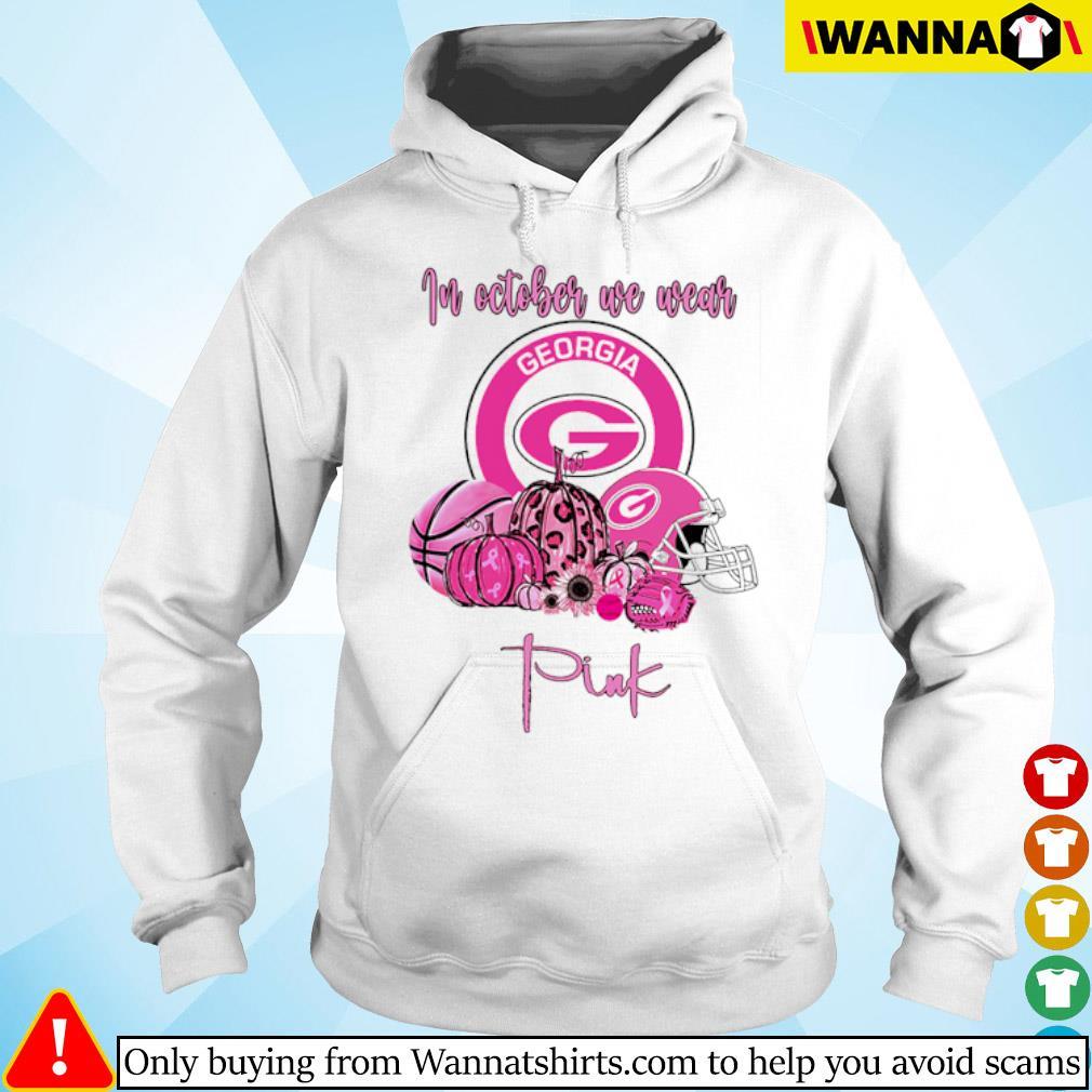 Georgia Bulldogs in October we wear pink s hoodie