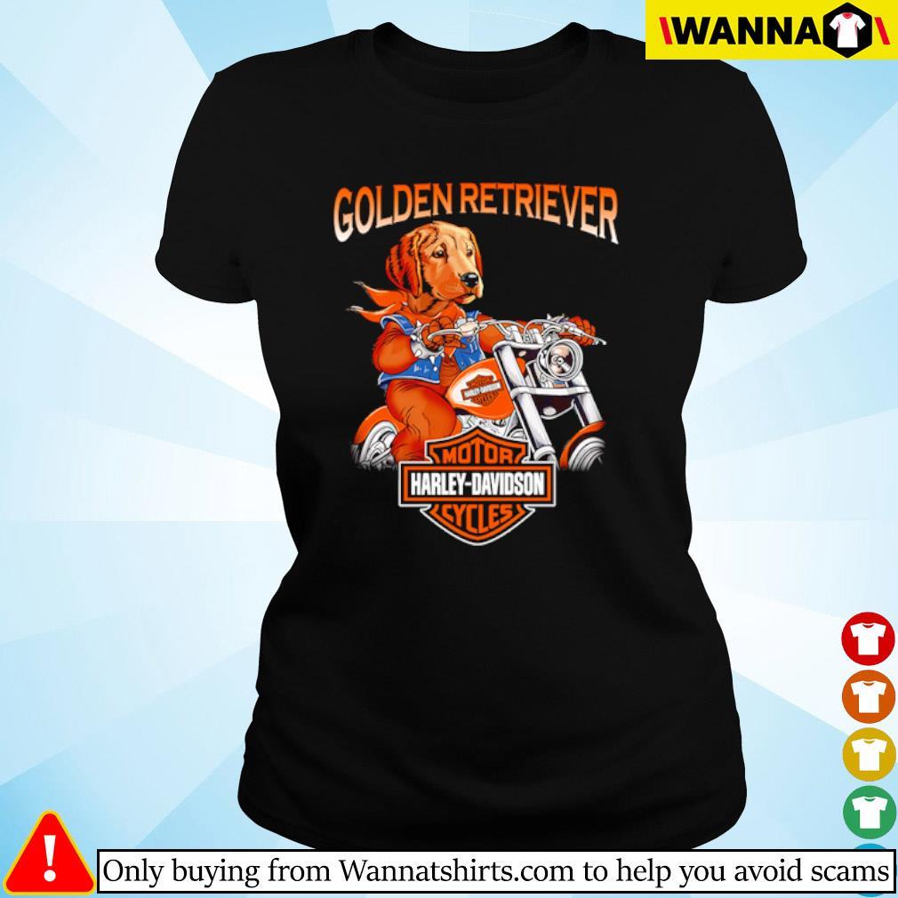 Golden Retriever riding motorcycle Motor Harley-Davidson cycles s ladies-tee black