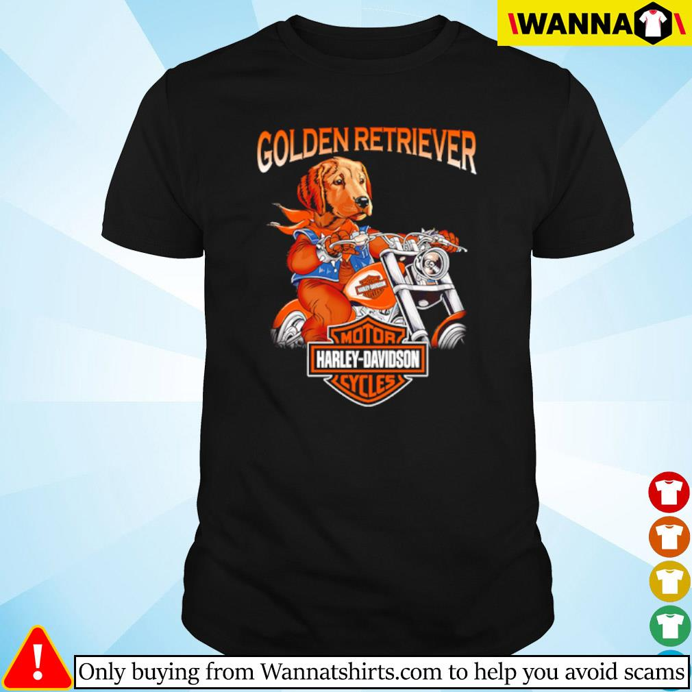 Golden Retriever riding motorcycle Motor Harley-Davidson cycles shirt