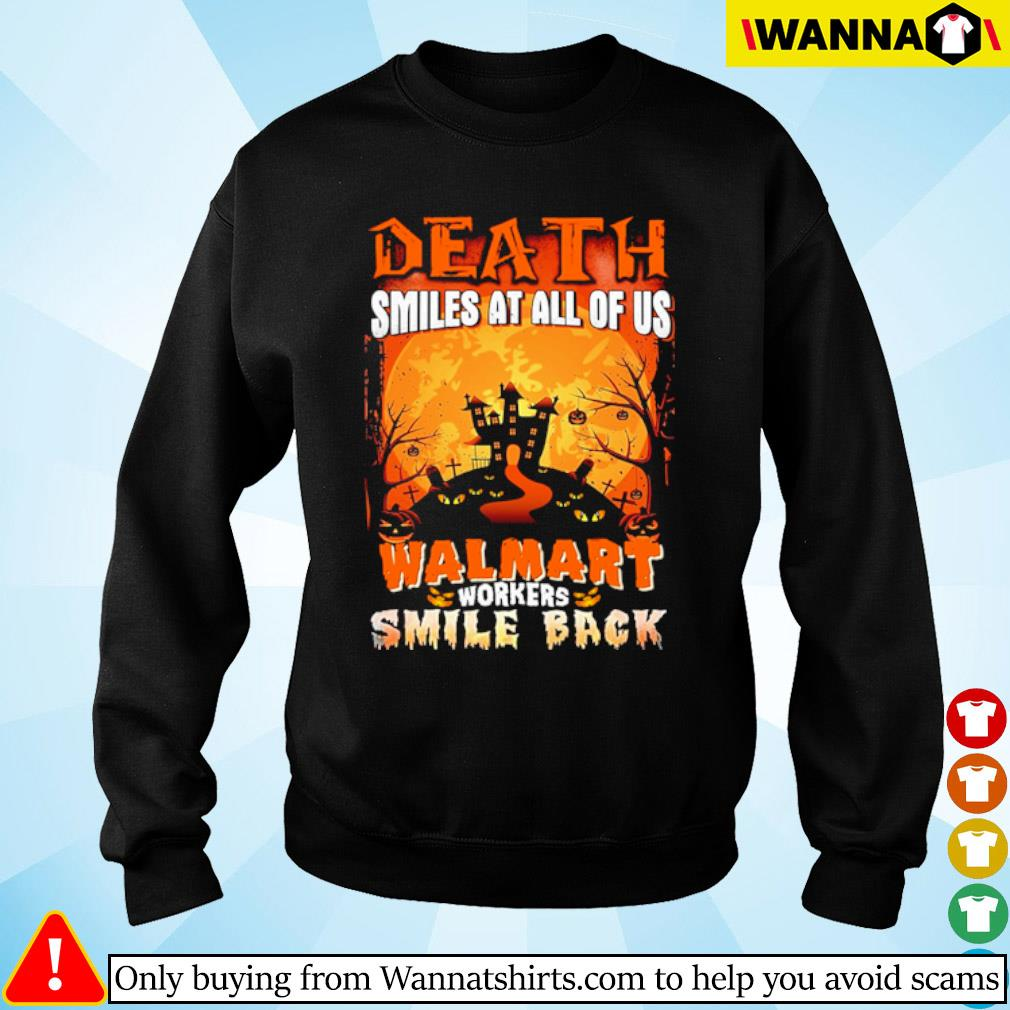 Halloween Death smiles at all of us Walmart workers smile back s sweater black