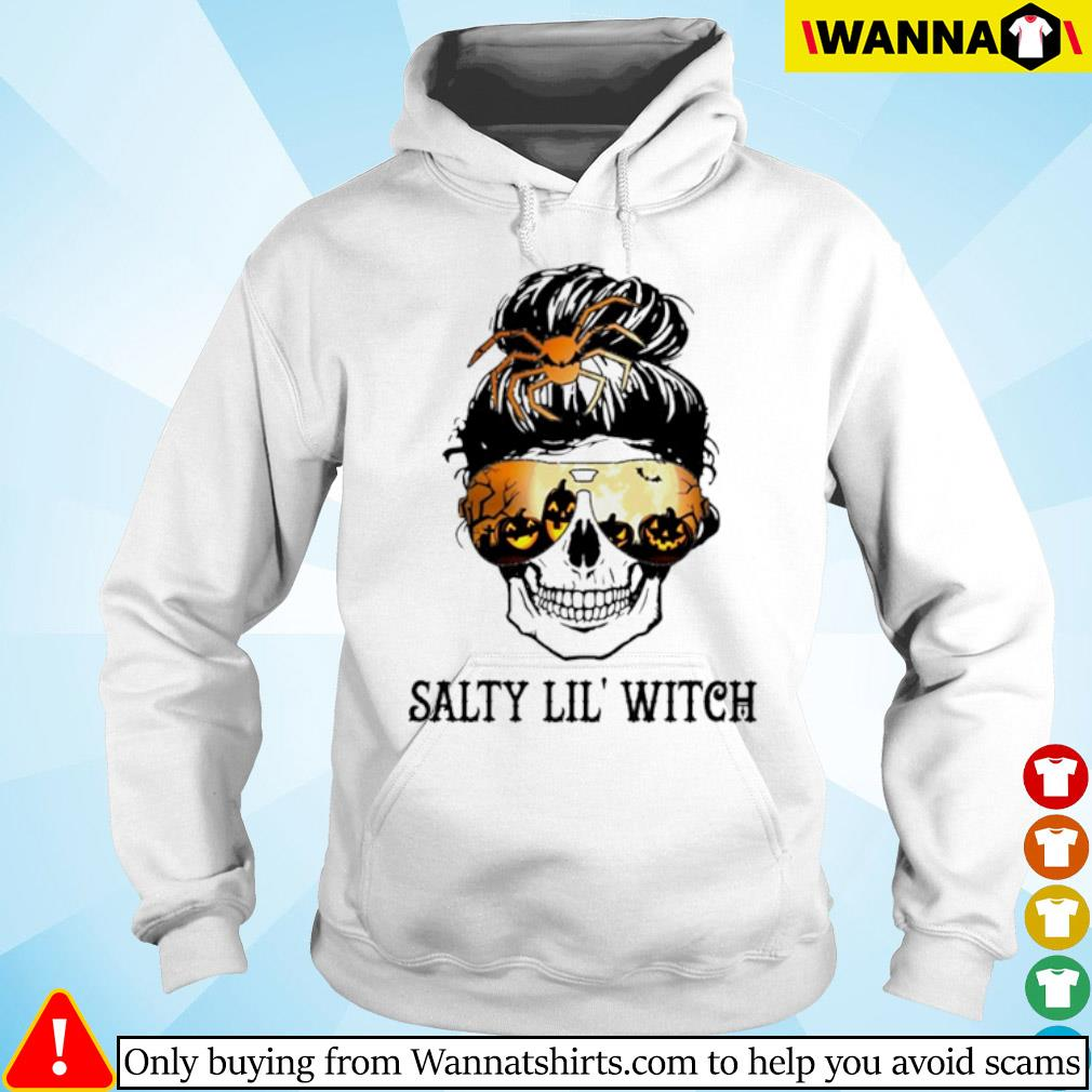 Skull wearing glasses Halloween Salty Lil' witch s hoodie