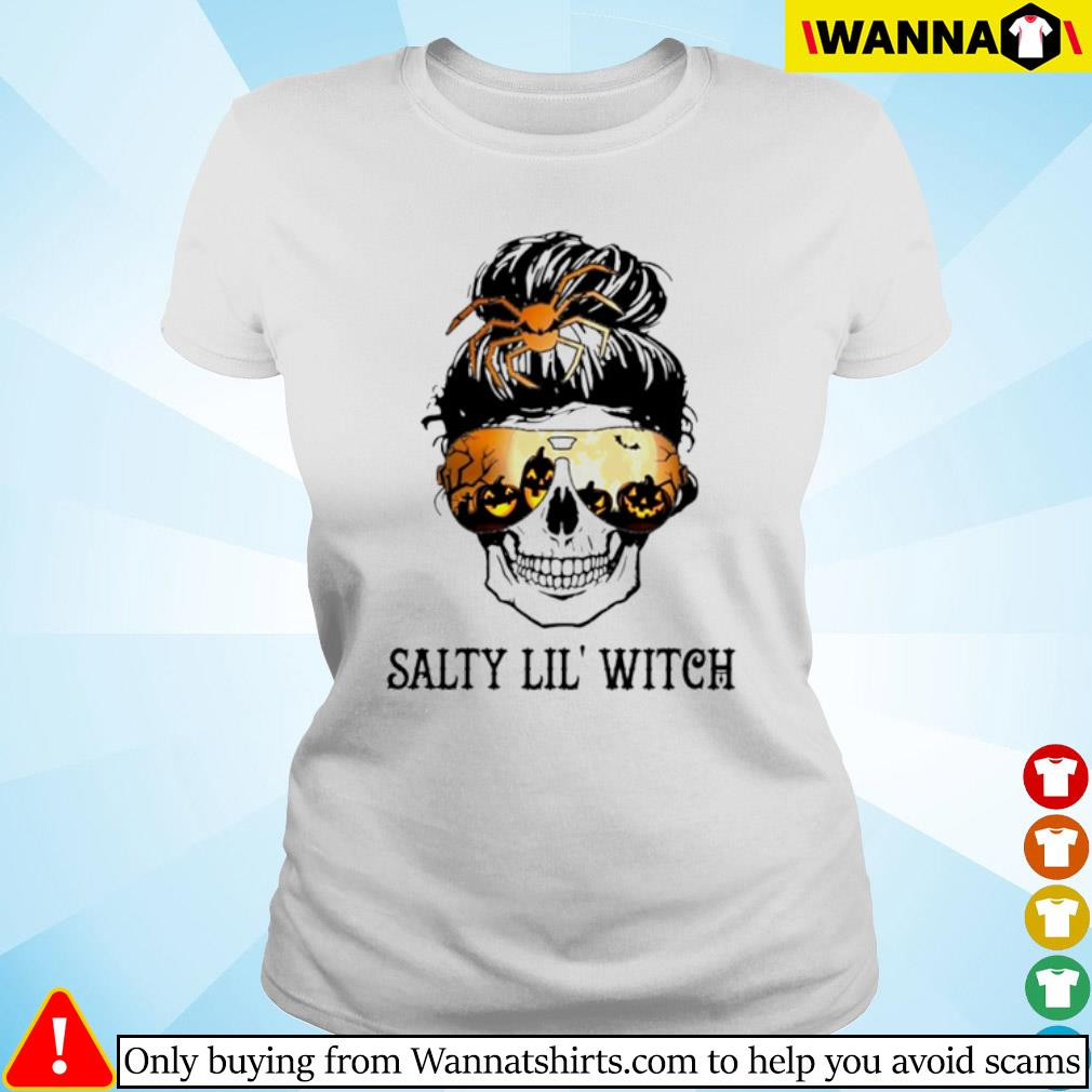 Skull wearing glasses Halloween Salty Lil' witch s ladies-tee