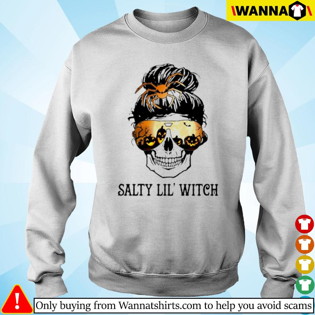 Skull wearing glasses Halloween Salty Lil' witch s sweater