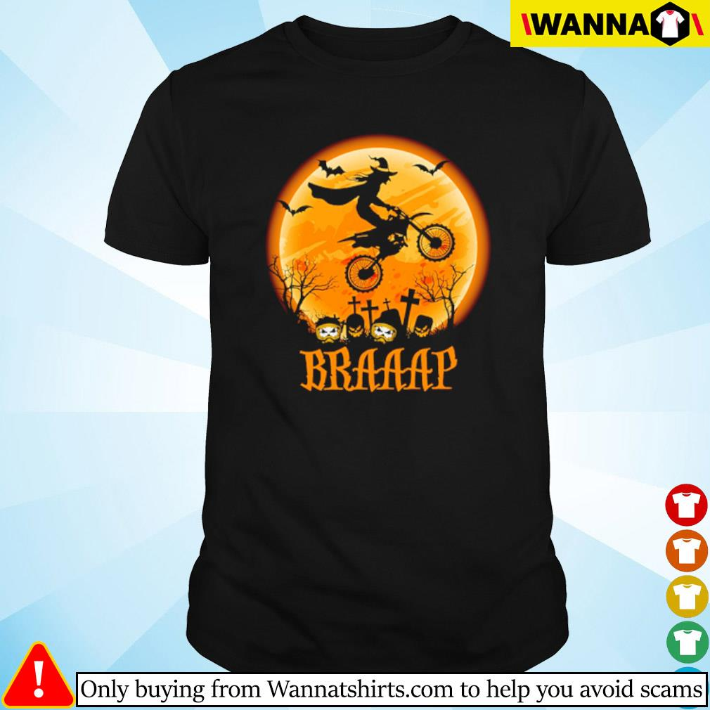 Witch riding motorcycle on the moon Braaaap Halloween shirt