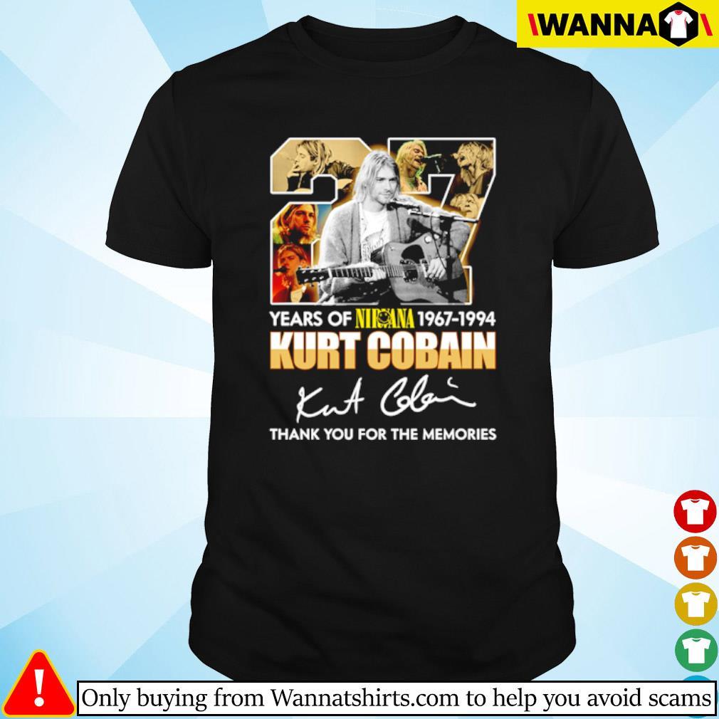 27 Years of Nirvana 1967-1994 Kurt Cobain thank you for the memories signature shirt