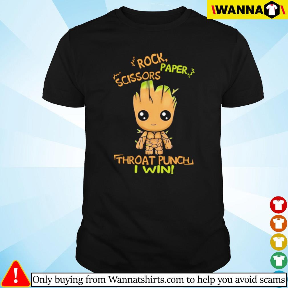 Baby Groot rock paper scissors throat punch I win shirt
