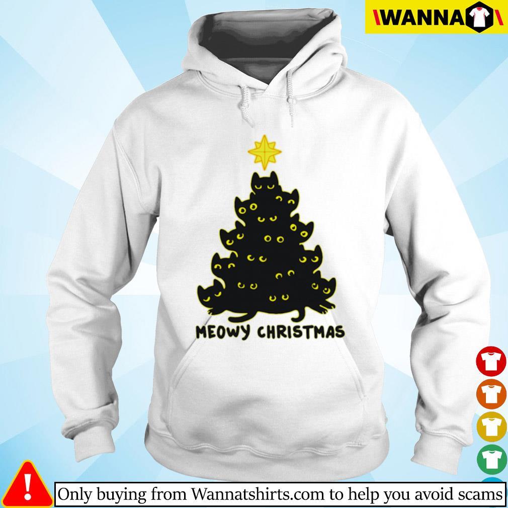 Black cats tree meowy Christmas sweater Hoodie