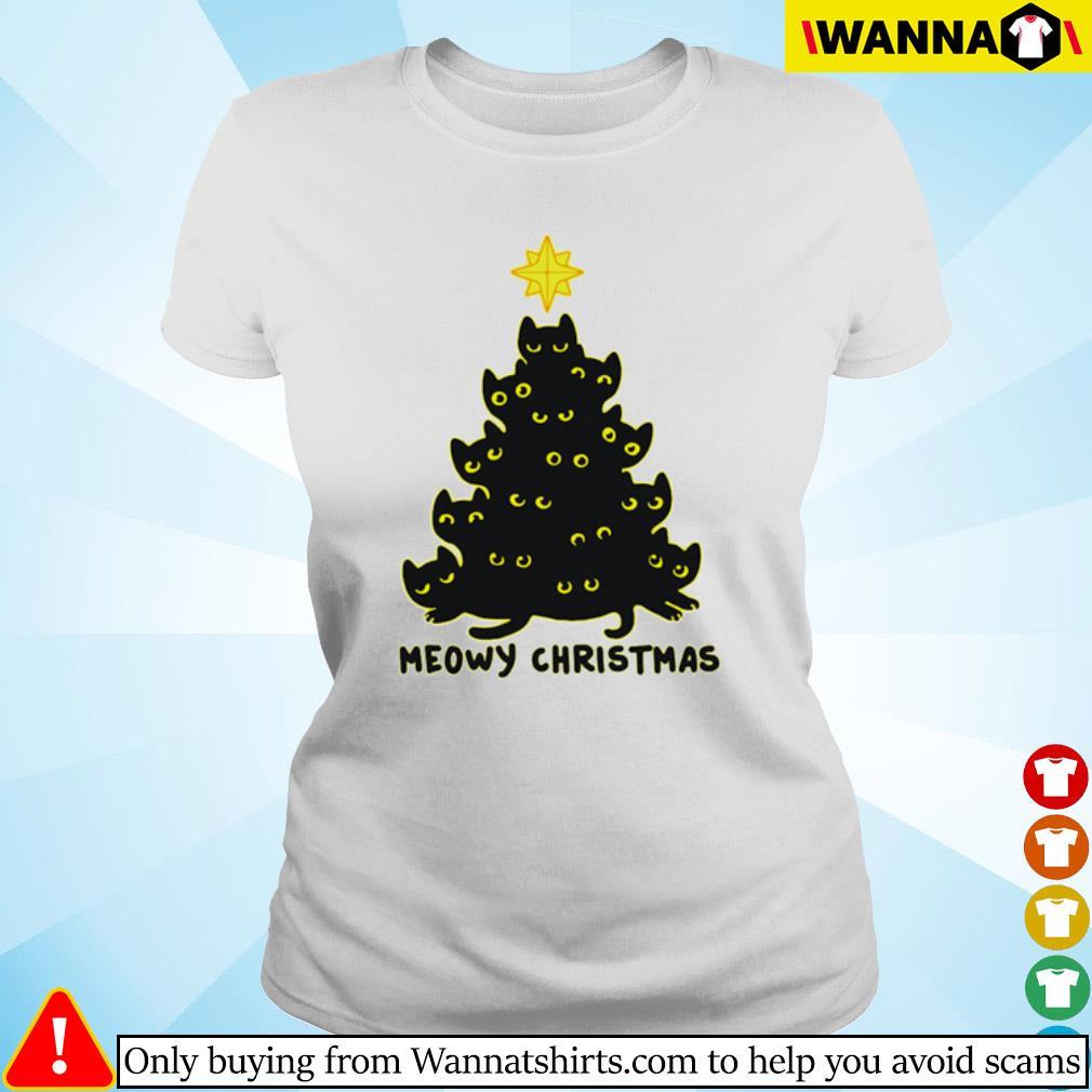 Black cats tree meowy Christmas sweater Ladies tee
