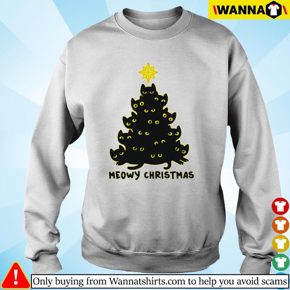 Black cats tree meowy Christmas sweater