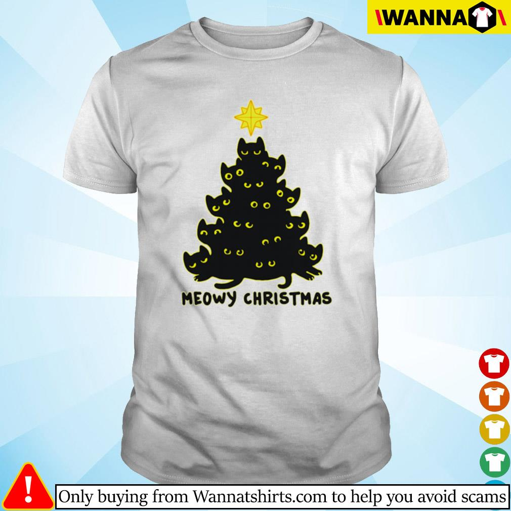 Black cats tree meowy Christmas sweater shirt