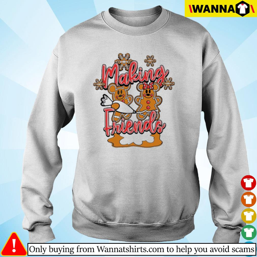 Christmas Mickey and Minnie Mouse cake making Friends sweater