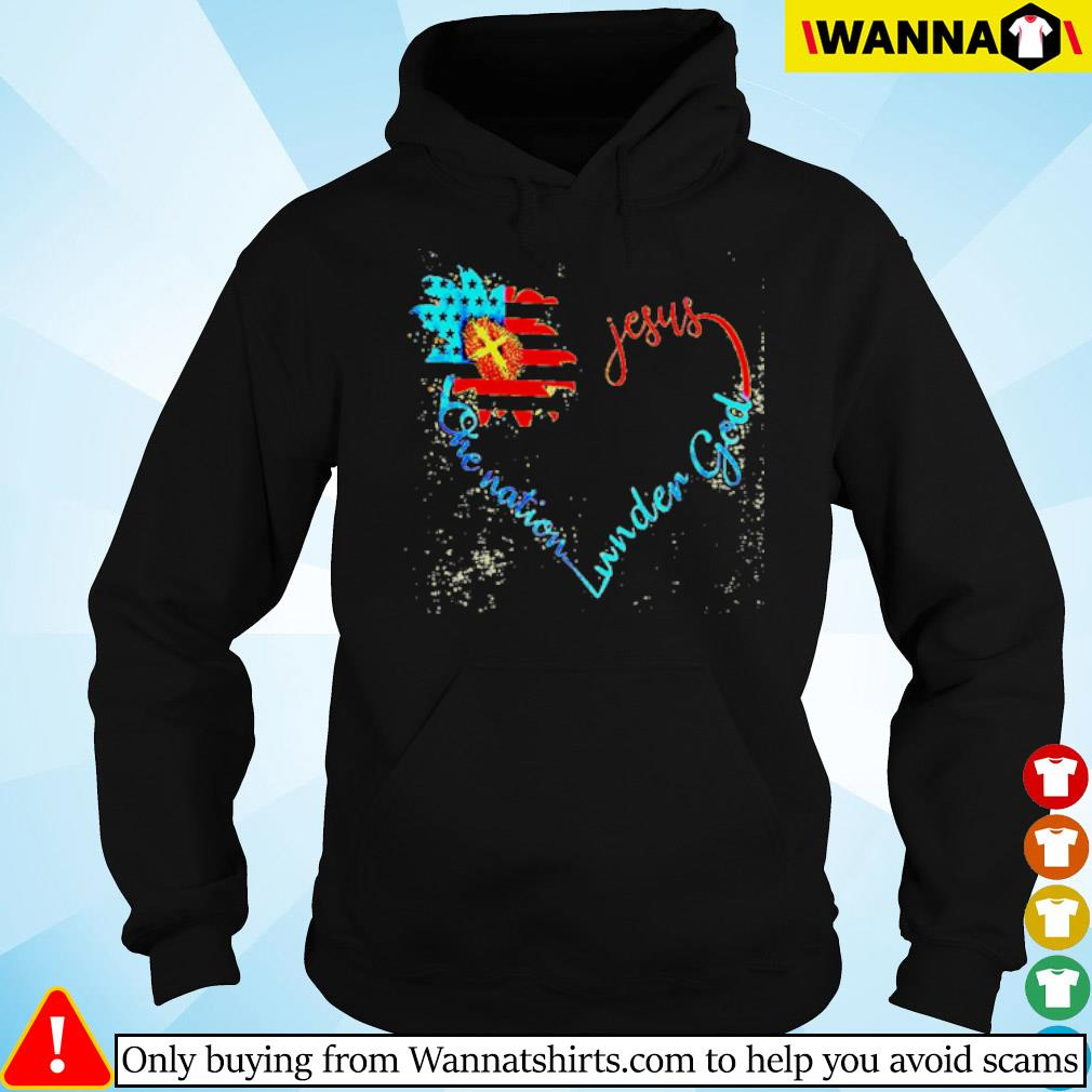 Flower American flag heart Jesus one nation under God s Hoodie