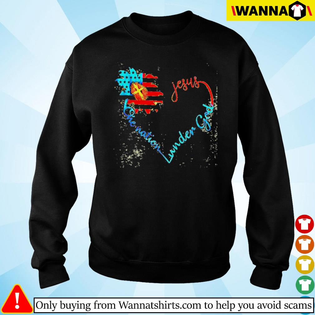 Flower American flag heart Jesus one nation under God s Sweater