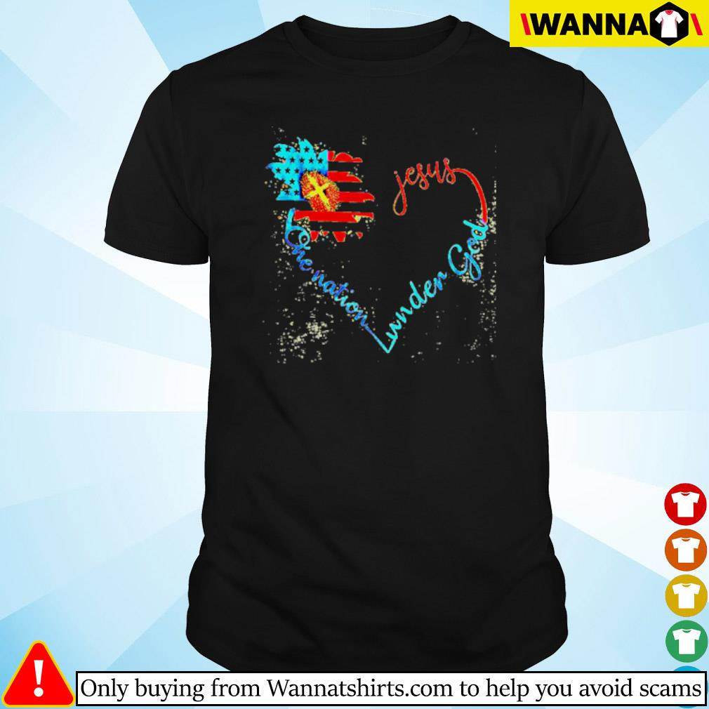 Flower American flag heart Jesus one nation under God shirt