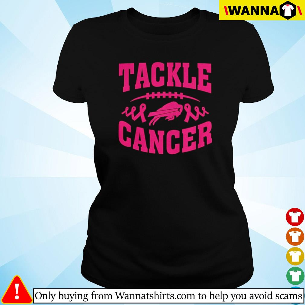 Football breast cancer pink tackle cancer s Ladies tee
