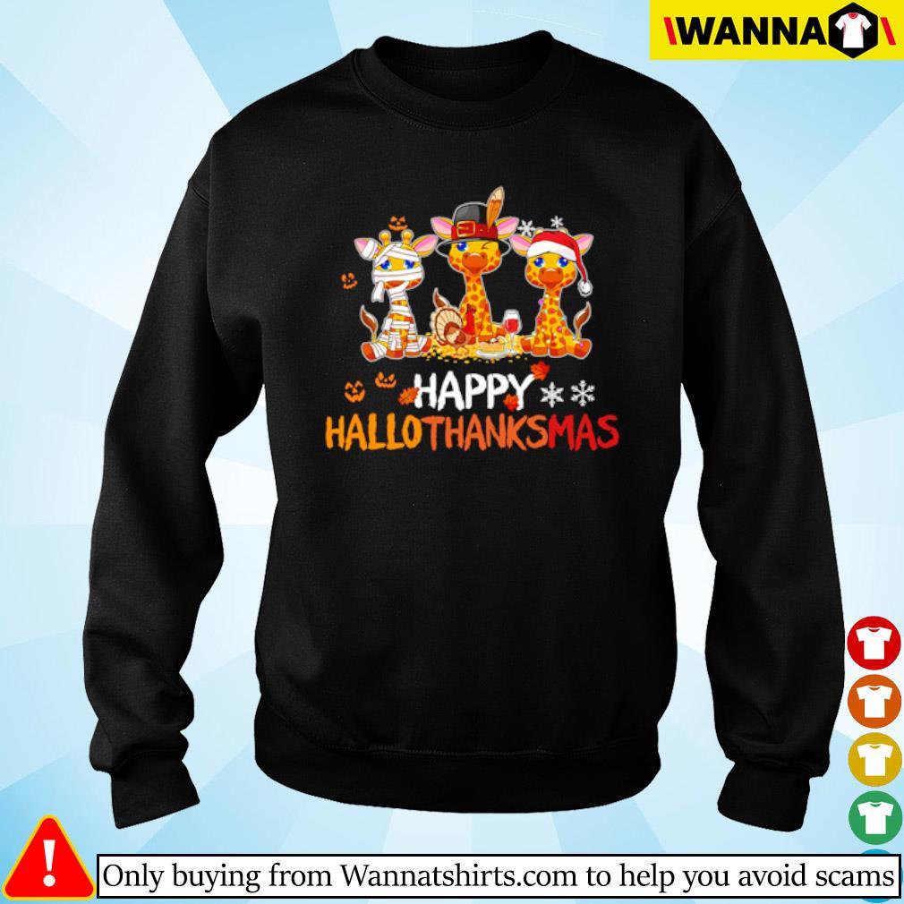 Giraffe happy Hallothanksmas Halloween Thanksgiving and Christmas s Sweater