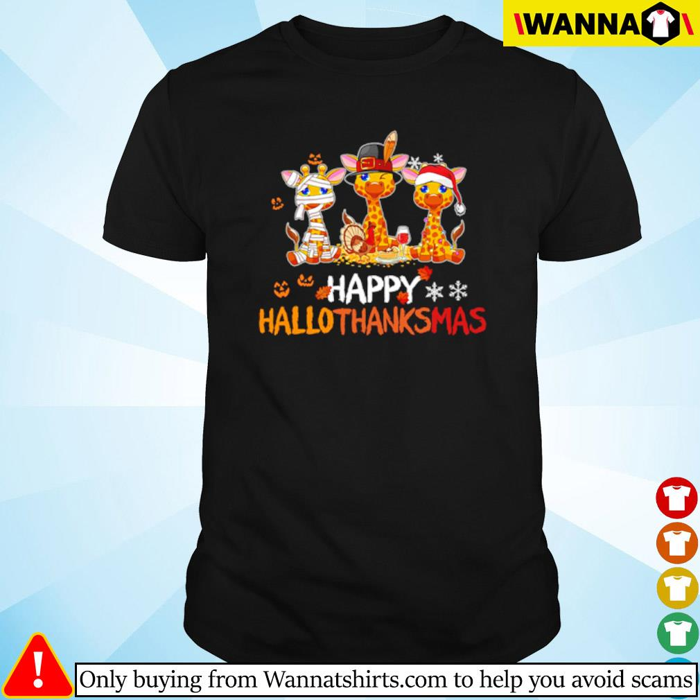Giraffe happy Hallothanksmas Halloween Thanksgiving and Christmas shirt