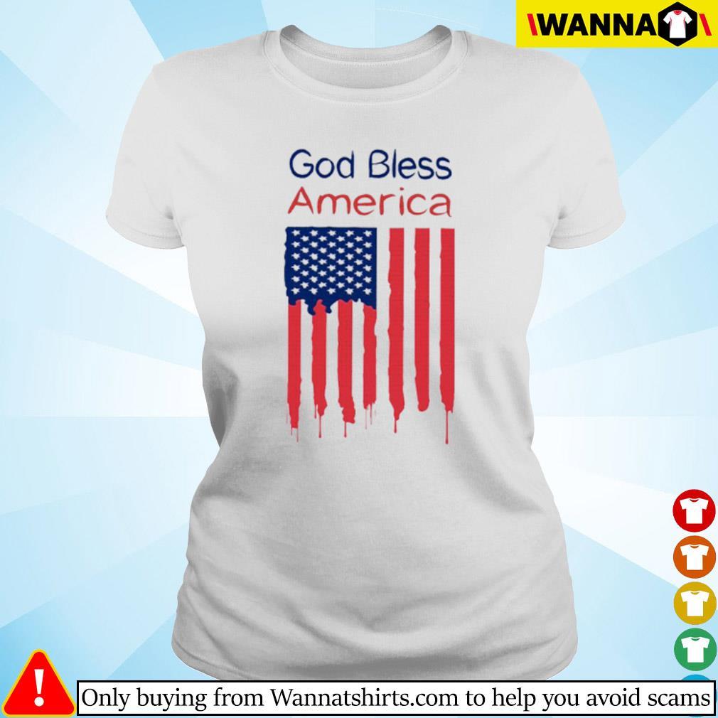 God bless America flag s Ladies tee
