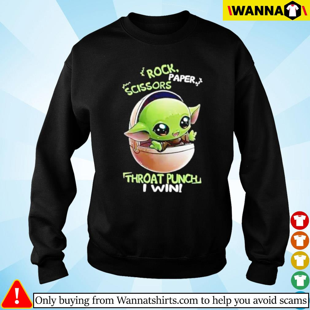 Star Wars Baby Yoda rock paper scissors throat punch I win s Sweater