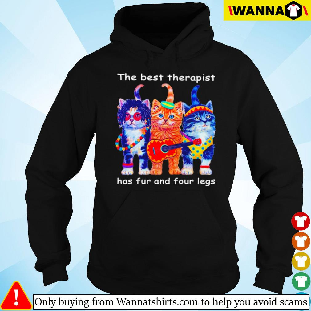 Three cats guitar the best therapist has fur and four legs s Hoodie