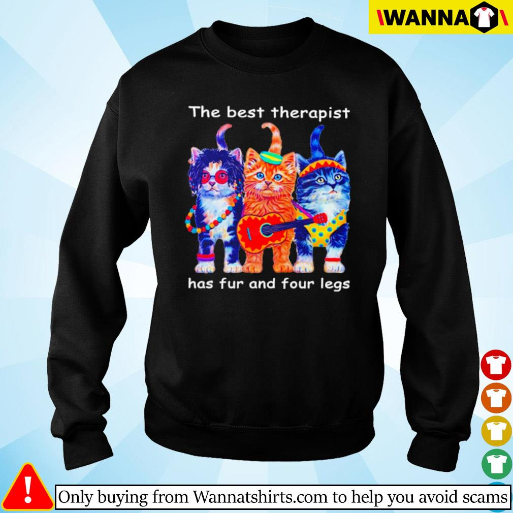 Three cats guitar the best therapist has fur and four legs s Sweater