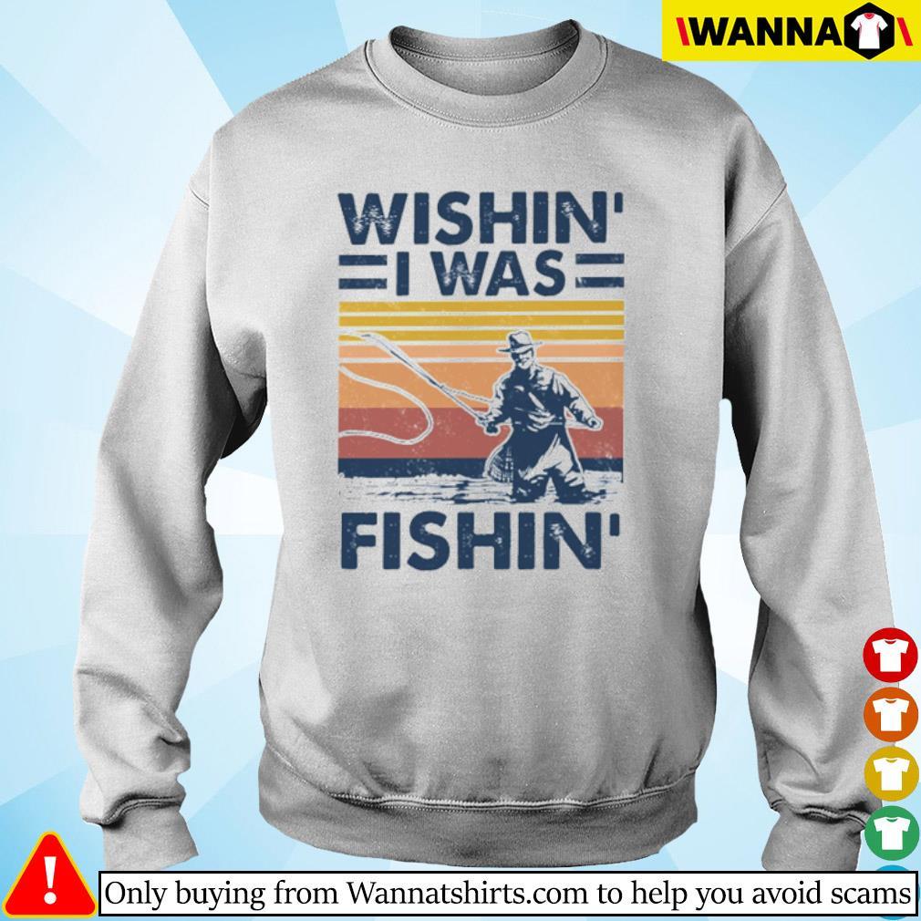 Vintage fishing Wishin' I was fishin' s Sweater