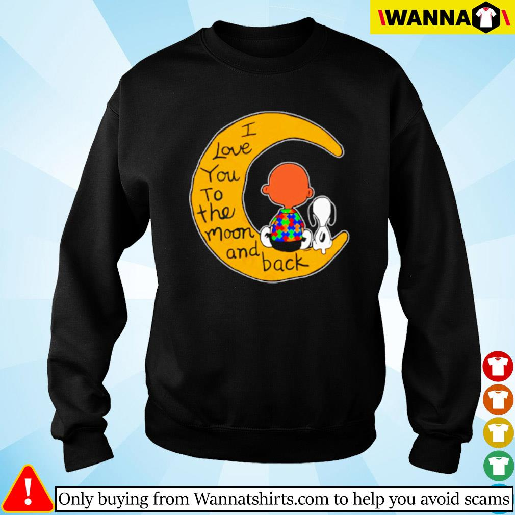 I love you to the moon and back Charlie Brown and Snoopy autism s Sweater