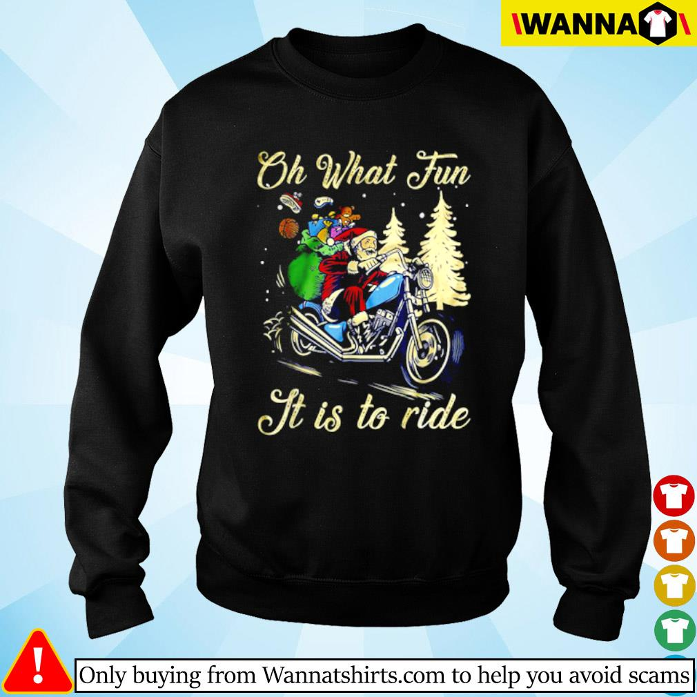 Santa riding a motorcycle oh what fun it is to ride Christmas sweater